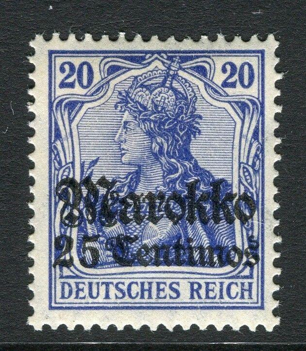 GERMAN COLONIES; MOROCCO 1911 early surcharged Mint hinged 25c. value