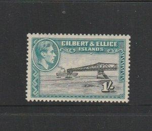 Gilbert & Ellice islands 1939/55 1/- P13.5 MM SG 51/51a