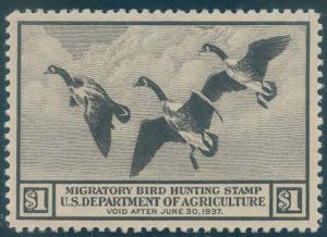 US Scott #RW3 Mint, XF/S, Hinged, PSE (Graded 95)