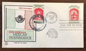 US Mexico Stamp Scott 1157 on Joint First Day Cover with 2 Cancels Dual