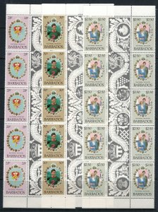 Barbados #547-9* NH  CV $9.00  Charles & Diana royal wedding, 5 gutter pairs
