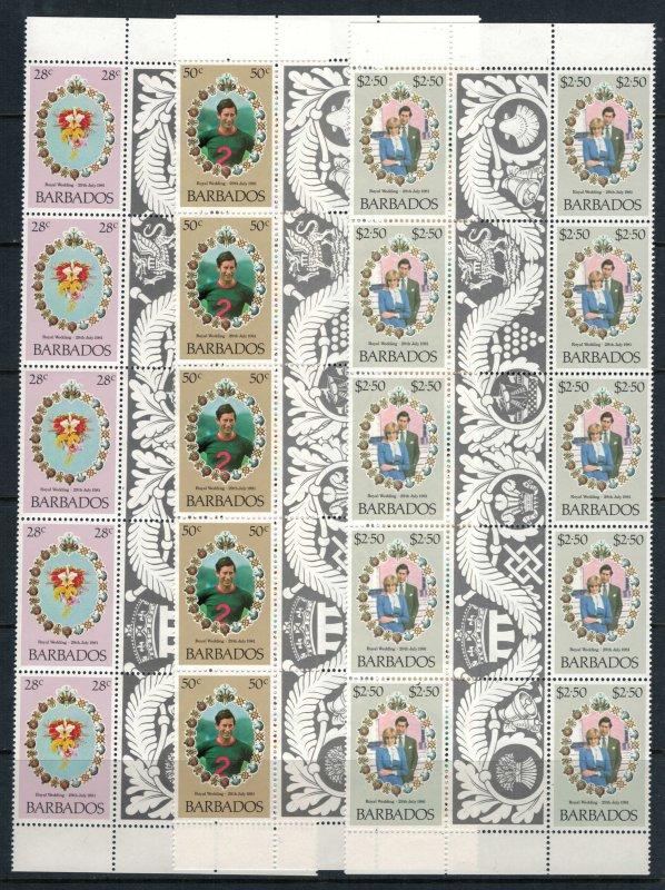 Barbados #547-9* NH  CV $9.00  Charles & Diana royal wedding, 5 gutter pairs