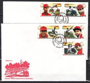 Cuba, Scott cat. 4440-4444. First Baseball Game issue. First day cover. ^