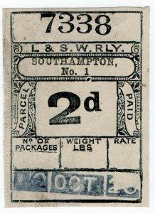 (I.B) London & South Western Railway : Paid Parcel 2d (Southampton)