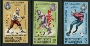 SOUTH ARABIA QU'AITI MI#123-30 1968 Grenoble Olympics Imperf Cpl Set MNH