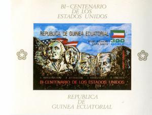 Rep Equatorial Guinea    MNH (2) S/S Mi Bi A178-9  LIBERTY/RUSHMORE BIN $7.50
