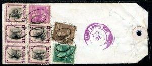 U.S. Scott 832 (5), 831, 825, 812 Prexies On Registered 1954 Missouri Bank Tag