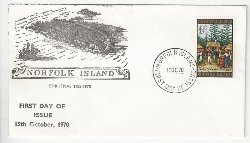 1970 Norfolk Island First Day Cover- Scott # 143 - Christmas Issue - (ZZ3)
