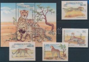 Uzbekistan stamp Cheetah set + block 2007 mnh mI 754-757 + 49 WS187740