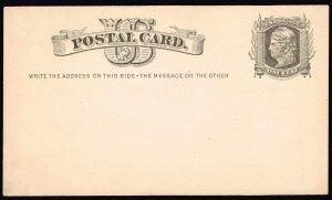 US STAMP BOB #UX5 1C BLACK 1875 POSTAL CARD UNUSED