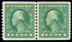 MOMEN: US STAMPS #443 COIL PAIR MINT OG NH XF-SUP JUMBO