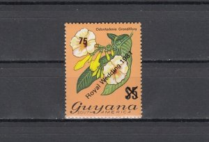 Guyana, Scott cat. 332. Royal Wedding o/prints on Flower values. ^