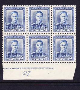 NEW ZEALAND  1938-52  3d  BLUE  KGVI   PLATE BLK 6  #27  MLH/MNH