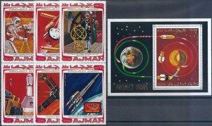1976 Ajman Mission Viking, Mars, Rockets, compl. set+Sheet VFMNH, CAT 15$
