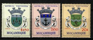Mozambique 1961, Weapons, 3 high values VF MNH, Mi 471, 473, 475 cat 6,3€
