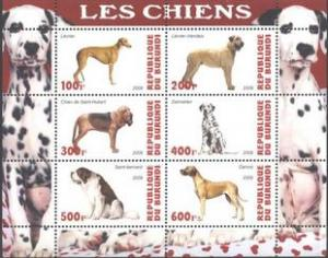 Burundi 2009 Domestic Animals Fauna Famous Dogs Mammals Pets M/S Stamps MNH (4)