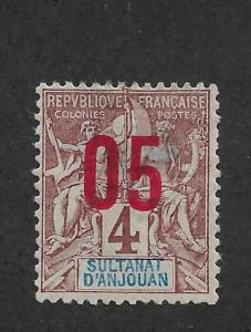 Anjouan 1912,Surcharged 05c on 4c,Scott 21,VF Mint Hinged* small tear !! (S-3)