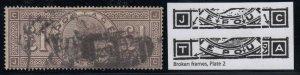 Great Britain, Sc 110a (SG 185a), used Frame Broken, Letter J-C (mild bend)