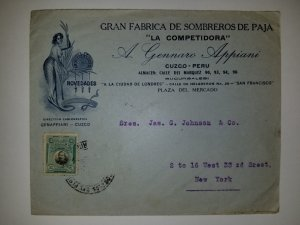 J) 1932 PERU, BOLOGNESI, LARGE FACTORY OF STRAW HATS, THE COMPETITOR, AIRMAIL, C
