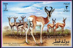 HERRICKSTAMP QATAR Sc.# 871 Gazelles Stamp Souvenir Sheet Limited Issue
