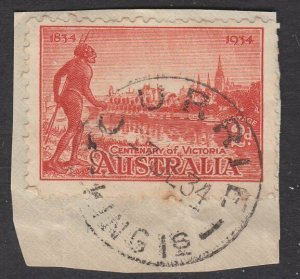 AUSTRALIA KING ISLAND 1934 2d on piece CURRIE / KING Is cds.................Q895