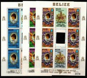 BELIZE SG710/2 1982 BIRTH OF PRINCE WILLIAM SHEETLETS MNH