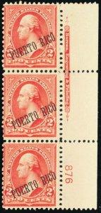 Puerto Rico #216, Mint NH PL# & Imprint Strip of 3 Stamps - Stuart Katz