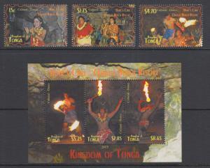Tonga Sc 1216-1219 MNH. 2013 Fire Dancers, cplt set including scarce s/s, VF+
