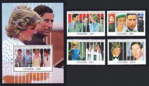 Uganda 10th Wedding Anniversary of Prince and Princess of Wales 4v+MS