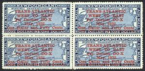 NEWFOUNDLAND #C12 Mint NH BLOCK - 1932 Dornier Airmail