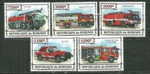 Burundi MNH Set Of 5 Fire Trucks 2013