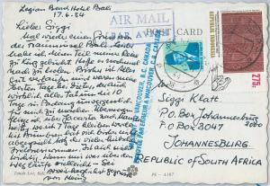 59352 -  INDONESIA - POSTAL HISTORY: POSTCARD to  SOUTH AFRICA through CANADA