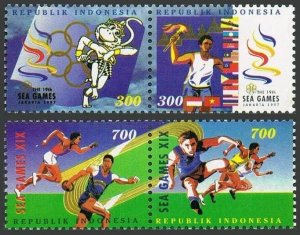 Indonesia 1717-1720apairs,MNH.Michel 1716-1719. Southeast Asia Games,1997.Discus