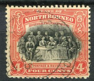 NORTH BORNEO; 1925 early Pictorial issue fine used 4c. value + Postal cancel