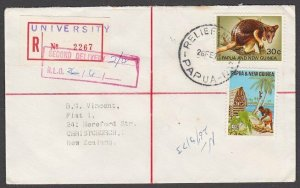PAPUA NEW GUINEA 1973 Registered cover to NZ - RELIEF No.3 used at University