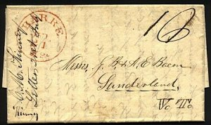 USA 1843 folded entire BARRE, Mass cds in red to Sunderland Vermont........18544