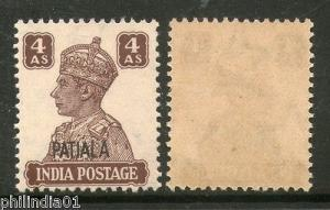 India PATIALA State 4As KG VI Postage SG 112 / Sc 111 Cat £13 MNH
