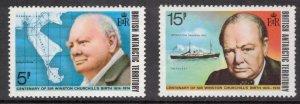 BRITISH ANTARCTIC 1974 Churchill; Scott 62-63, 63a, SG 61-63; MNH