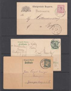 Bavaria H&G 38,79,98 used. 1890-1916 Postal cards, 3 different, nice cancels