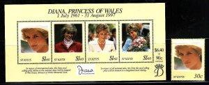 St. Kitts-Sc#437A-8- id7-unsed NH set + sheet-Princess Diana-1997-