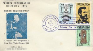 COSTA RICA CENT FIRST TELEPHONE CALL ALEXANDER GRAHAM BELL Sc C666-C668 FDC 1976