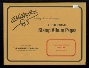 White Ace Animal Topical Historical Stamp Album Blank Page Supplement Pack of 12