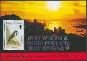 Tristan Da Cunha 1997 SG619 Return of Hong Kong China Gough Bunting MS MNH