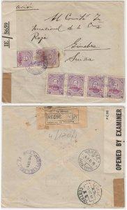 PARAGUAY 1945 RED CROSS DOUBLE CENSOR R-COVER Sc O98 (6x) ASUNCION-LISBOA-GENEVE