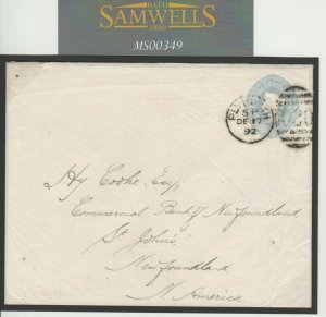 GB TRANSATLANTIC Cover 1892 Newfoundland 2½d Stationery *Plymouth* Devon MS349