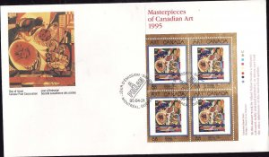 Canada-Sc#1545-stamps on FDC-UR plate block-Canadian Art-1995-