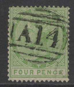 TOBAGO SG10b 1880 4d YELLOW-GREEN MALFORMED CE IN PENCE USED CREASE WITH CERT
