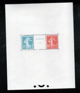 France #241 Extra fine Never Hinged Souvenir Sheet - Perfect Gum