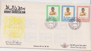 BRUNEI 1985 1986 NEW DEFs CLEAN FDC $1 S2 n $5 Sg 379/81.MALAYA unaddressed ,