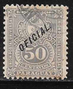 Paraguay O40: 50c Seal of the Treasury, used, F-VF